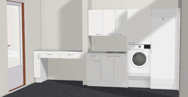 Esteetön kodinhoitohuone, wheelchair accessible laundry room