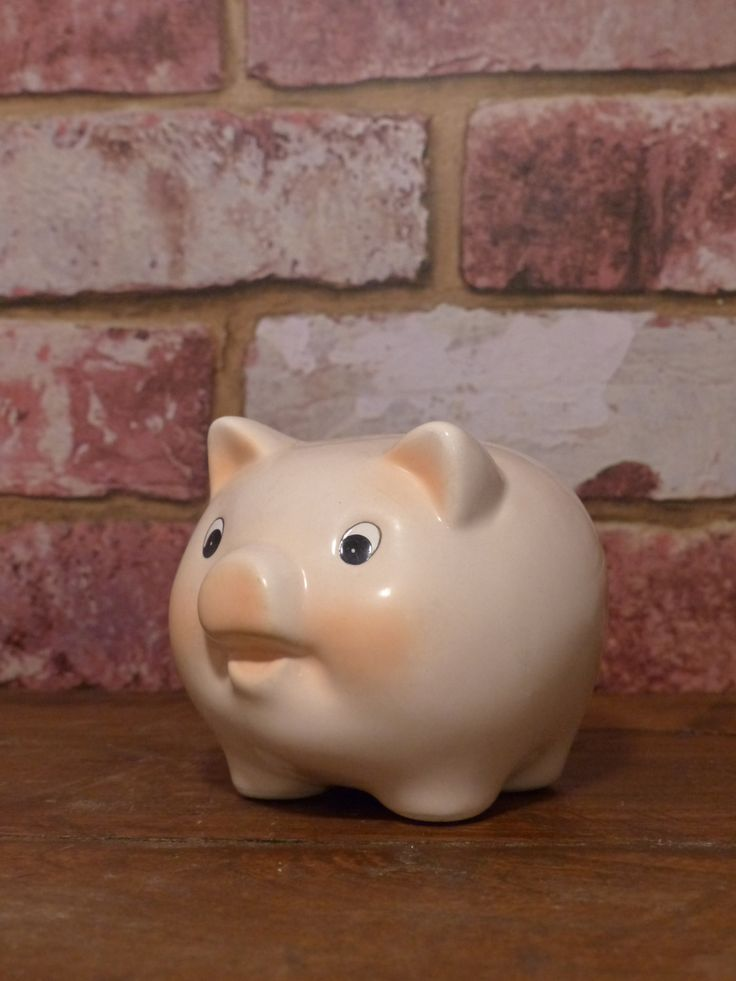 VINTAGE PORCELAIN PIG - Pink Fat Little Piggy by JusFunkinAround on Etsy  $12