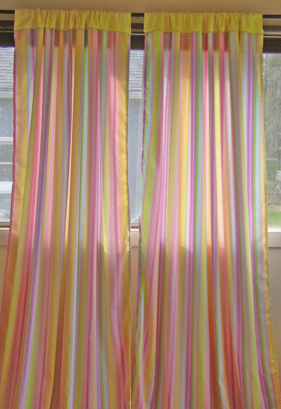 Striped Pastel Rainbow Pink Yellow Blue Green Purple Long Drape Curtain Panels Window Treatment Home Decor Eco Friendly