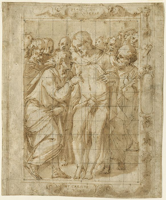 Giorgio Vasari (Italia, 1511-1574), The Incredulity of Saint Thomas, c. 1556–57. Ink and wash on paper, 8 7/16 x 6 15/16 in. (21.5 x 17.6 cm), The Clark, 2003.9.4. © 2017 The Clark Art Institute
