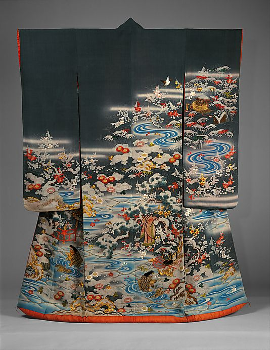 Outer Robe (Uchikake) with Scenes of Filial Piety.  Period: Edo period (1615–1868). Date: late 18th century. Culture: Japan. Medium: Resist-dyed and painted silk crepe, embroidered with silk and metallic thread. Dimensions: Overall: 68 3/4 x 49 in. (174.6 x 124.5 cm).
