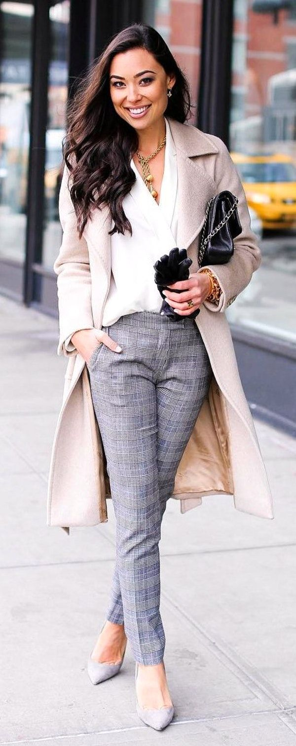 #winter #fashion / Beige Coat / White Shirt / Grey Pattern Pants / Grey Pumps