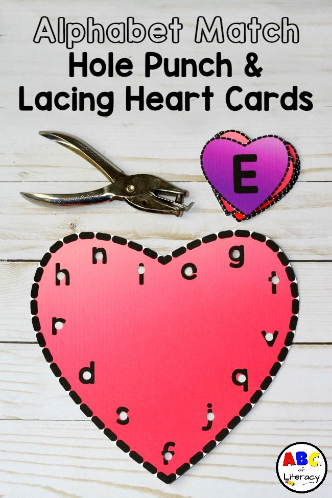 Children will have fun identifying the letters of the alphabet and developing their fine motor skills with these Valentine's Day themed Alphabet Match, Punch, And Lacing Heart Cards. Alphabet Match Activities | Fine Motor Activities | Lacing Card | Hole Punch Card