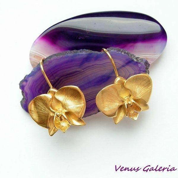 Złota orchidea - kolczyki  w Venus Galeria na DaWanda.com