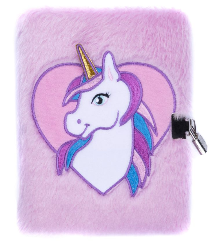 Pink unicorn secret diary for girls. Cute design with sturdy little locket and set of two keys.