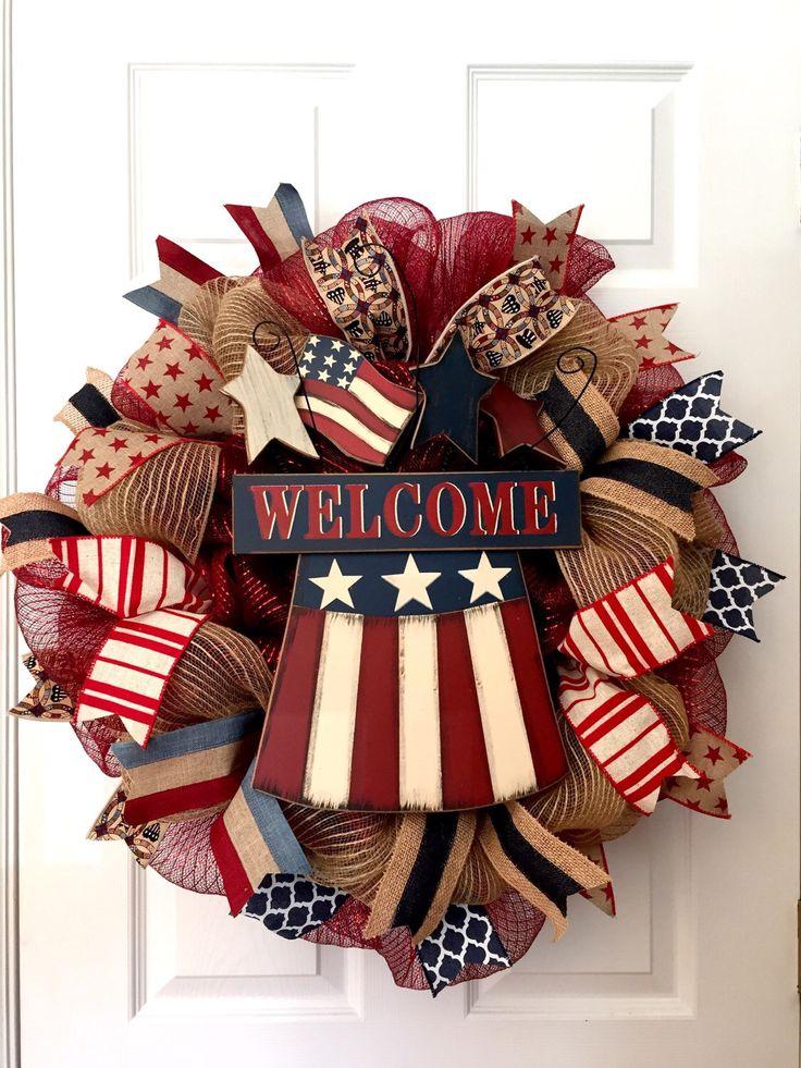 Patriotic wreath, Americana wreath, Fourth of July wreath, Spring wreath, USA wreath, Memorial Day wreath by ADressyDoor on Etsy https://www.etsy.com/listing/227217296/patriotic-wreath-americana-wreath-fourth