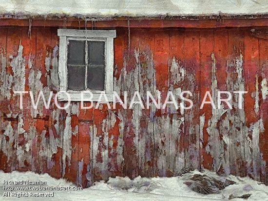 #312 PEELING PAINT ON BARN SHED Limited edition of ten 18x24 prints. $185.00 Painting by Two Bananas Art artist Richard Neuman. Inspired by a photo he took in Hancock County, Ohio. Each giclee print is digitally signed, dated, numbered, with a certificate of authenticity. Your gallery wrapped, stretched canvas print is ready to hang. SHIPPED FREE! #art #architecture #colorful #semi #abstract #barn #building #print