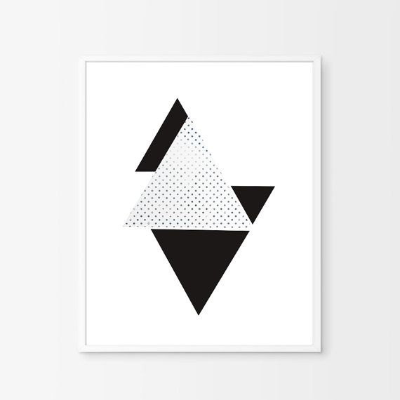 Modernist Wall Decor Triangles Black White by BeePrintableQuoteArt