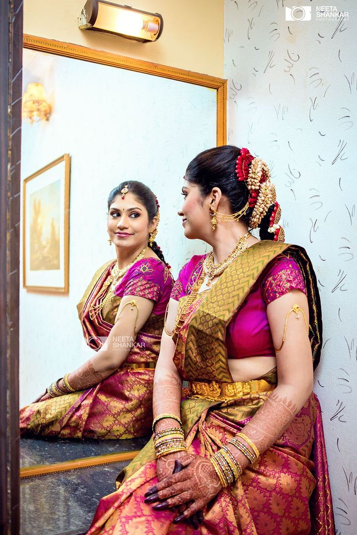 South Indian bride. Diamond Indian bridal jewelry.Temple jewelry. Jhumkis.silk kanchipuram sari.Braid with fresh flowers. Tamil bride. Telugu bride. Kannada bride. Hindu bride. Malayalee bride.Kerala bride.South Indian wedding.