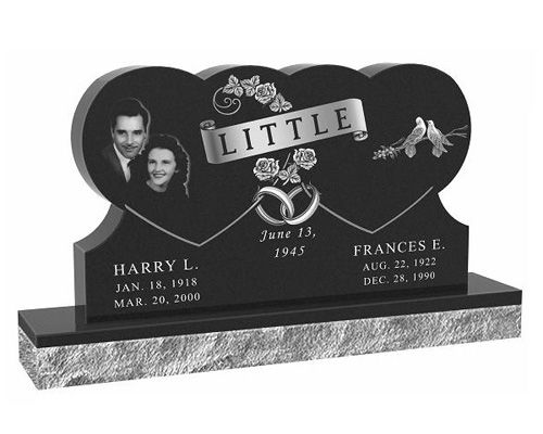 Black Heart Shaped Headstone Images Double Tripple