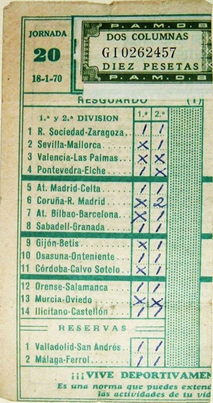 Resguardo de quiniela de la jornada del 18 de enero 1970. No salió ganador!