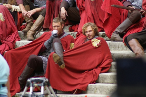 I don't know what's more delightful — the way Rupert's sitting, or Tom's plastic cup. Oh, boys.