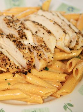 Delicious, creamy, grilled chicken pasta. Great way to use boneless skinless chicken breasts.
