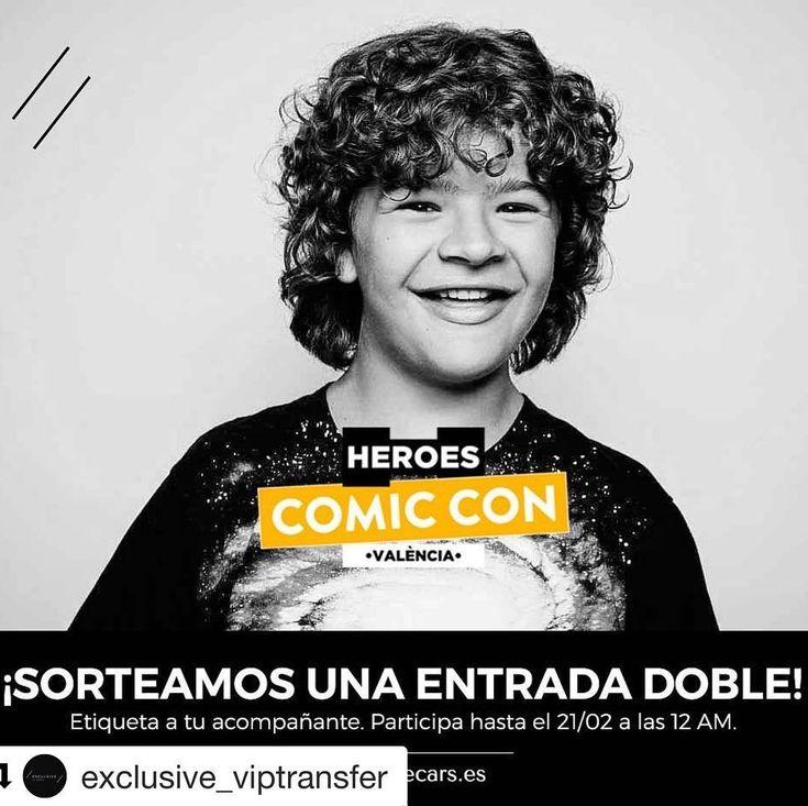#Repost @exclusive_viptransfer with @get_repost  Quieres ver en persona al actor Gaten Matarazzo de @strangerthingstv? Sorteamos una entrada doble para el @heroes_comiccon! . PARA PARTICIPAR: 1. Síguenos 2. Etiqueta a alguien a quien le haría mucha ilusión. La entrada es doble! . BASES  Link en bio! . #ComicCon #Valencia #gatenmatarazzo #strangerthings #marvel #dccomics #exclusive #vip #transfer #cosplay #sorteo #feriavalencia #febrero