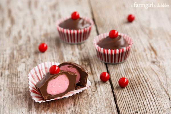 Chocolate Cherry Candy Cups - afarmgirlsdabbles.com these would be sweet for Valentine's Day