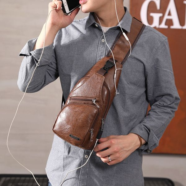 adbbe9fcc5 Outdoor Shoulder USB Charging Port Chest Bag Travel Daypack Sling Bag  Crossbody Bag For Men is worth buying - NewChic Mobile