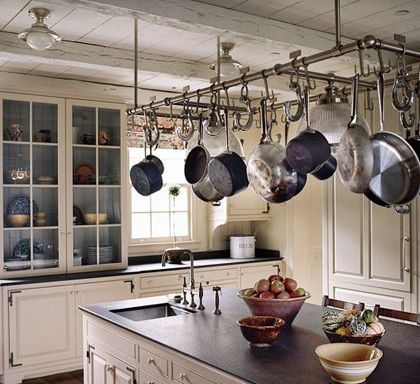 Not closed to it, always think it looks cool, but feel like my kitchen would look so junky with pots hanging.  Hmmmm....