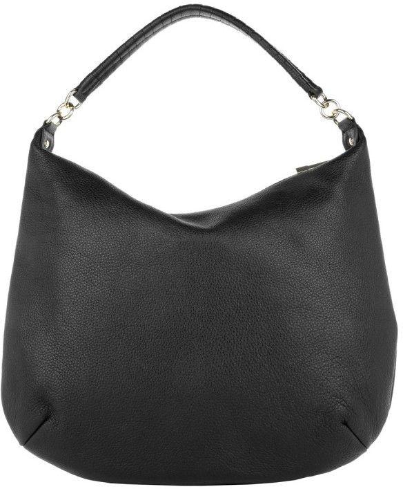 Coccinelle Tasche - Megan Hobo Bag Vitello Double Nero/ Silver - in silber, schwarz - Umhängetasche für Damen