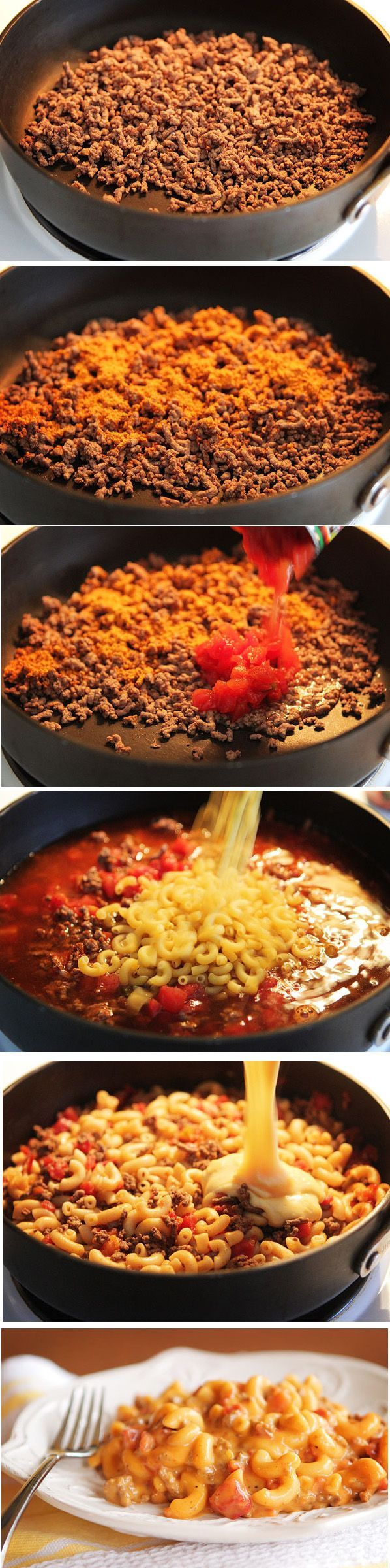 Ingredients 1 lb lean hamburger meat 1 pkg taco seasoning 1 can Rotel tomatoes and green chilies 2 cups beef broth 1 cup elbow macaroni.