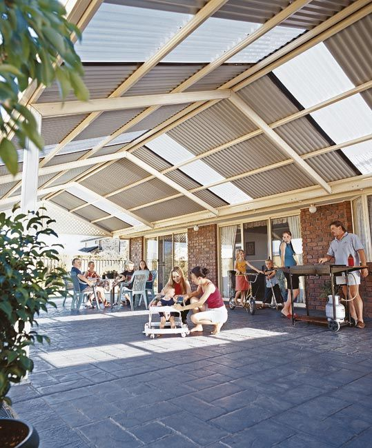 Stratco roofing the versatile stratco outback flat for Carport deck