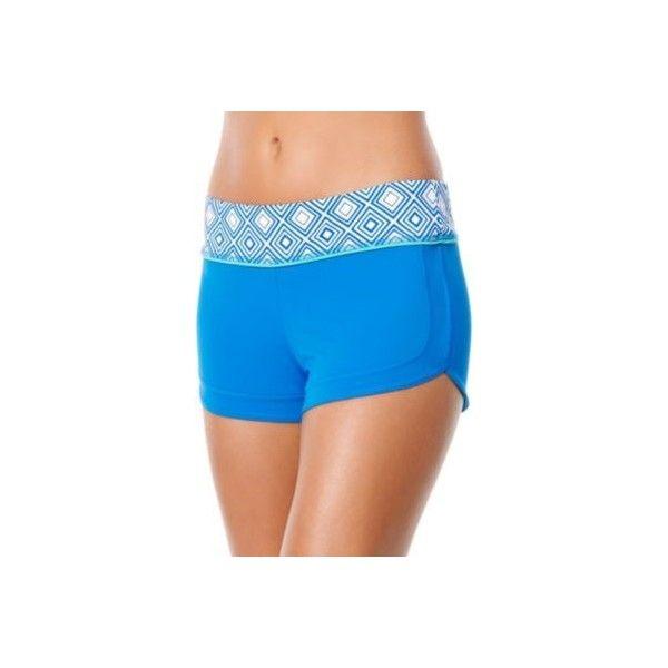 Jag Sport Womens Mod Geo Boy Leg Swim Shorts ($46) ❤ liked on Polyvore featuring swimwear, bikinis, bikini bottoms, blue, blue swim trunks, jag swimwear, swimsuits tops, sports swim top and sport bikini