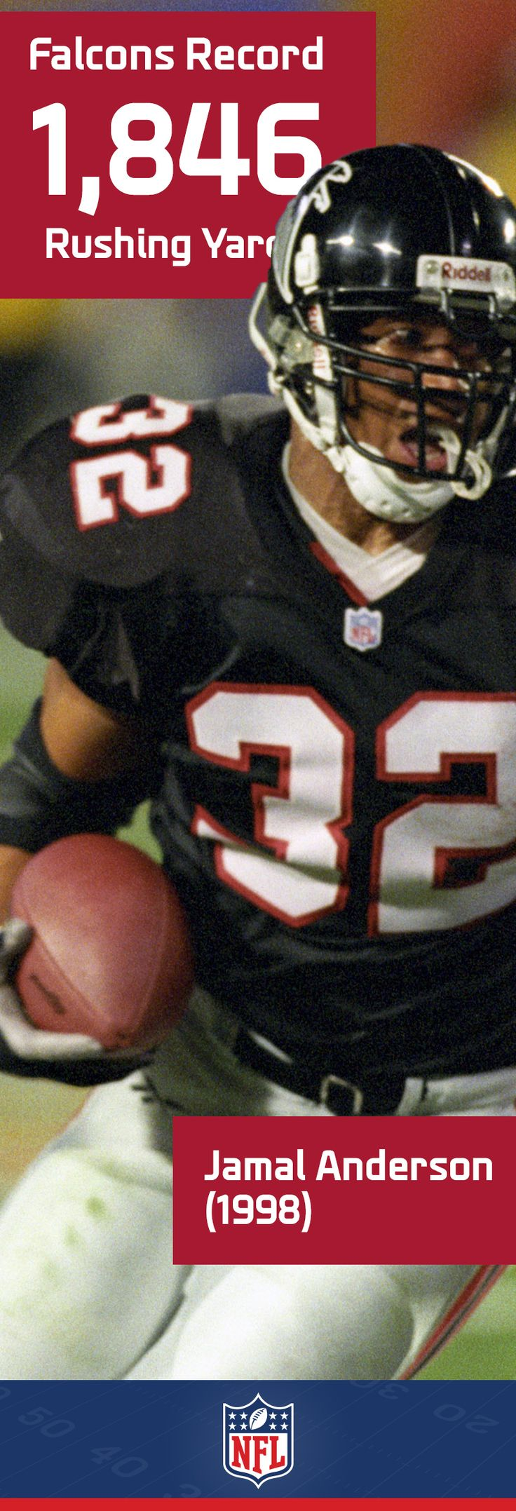 Jamal Anderson's 1,846 yards on the ground led the NFC in 1998, and helped carried the team all the way to Super Bowl XXXIII – a fitting performance to hold the Atlanta Falcons team record.