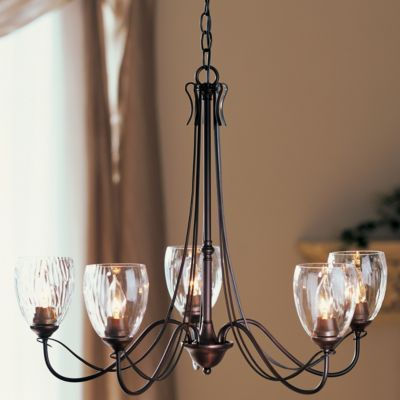 Trellis Five Arms Chandelier With Water Glass by Hubbardton Forge