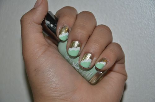 Mint green white and gold: Clouds, Nails Art, Mint Green, Gold Nails, Color Combos, Cloud Nails, Mint Cloud, Mint Color, Pastel Cloud