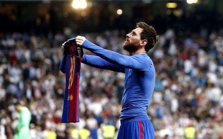 Download wallpapers Lionel Messi, Barcelona FC, shows T-shirt, football, Spain, 4k, Leo Messi, La Liga