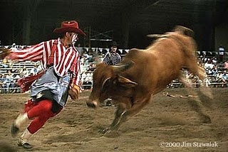 Rodeo clowns in Action.