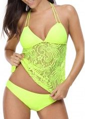 Halter Lace Panel Tie Back Yellow Tankini | Rosewe.com - USD $30.84