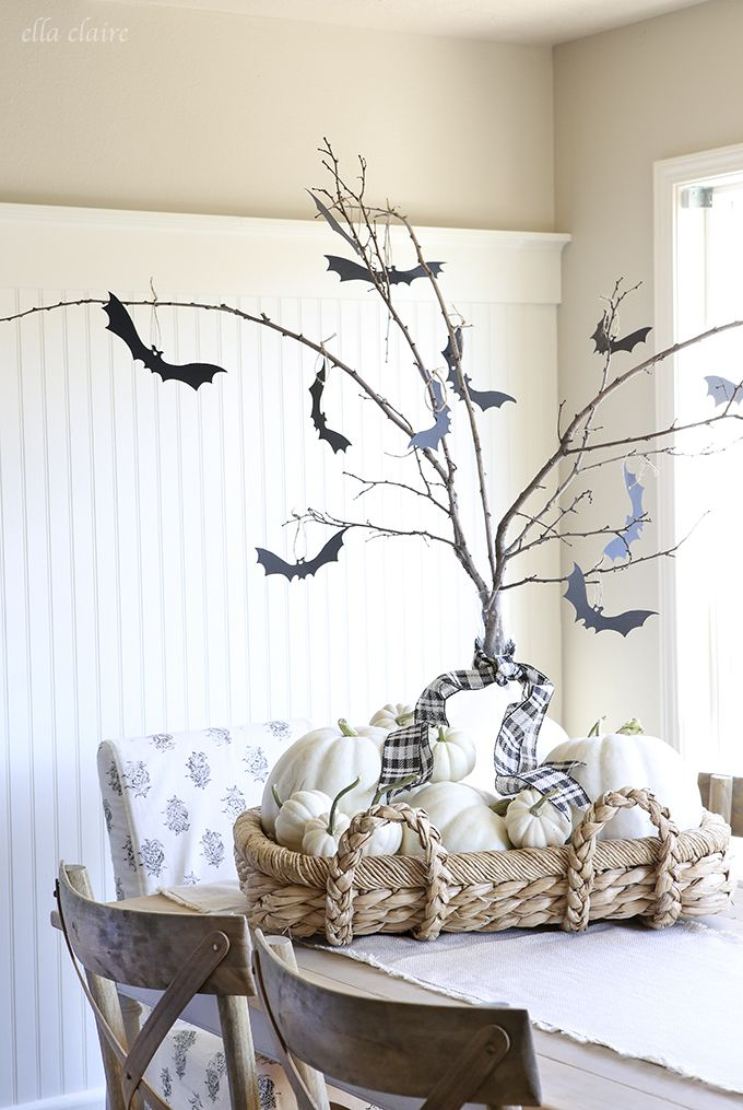 DIY Super Adorable & Easy Halloween Tree With Free Printable Bats