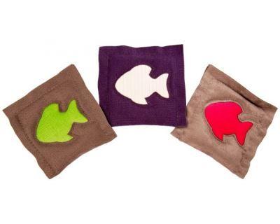 4cats polštářek se šantou pro kočky s motivem rybky, 11x11 cm