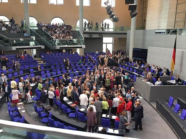 Bundestagsabgeordnete bei einer Abstimmung im Plenum.