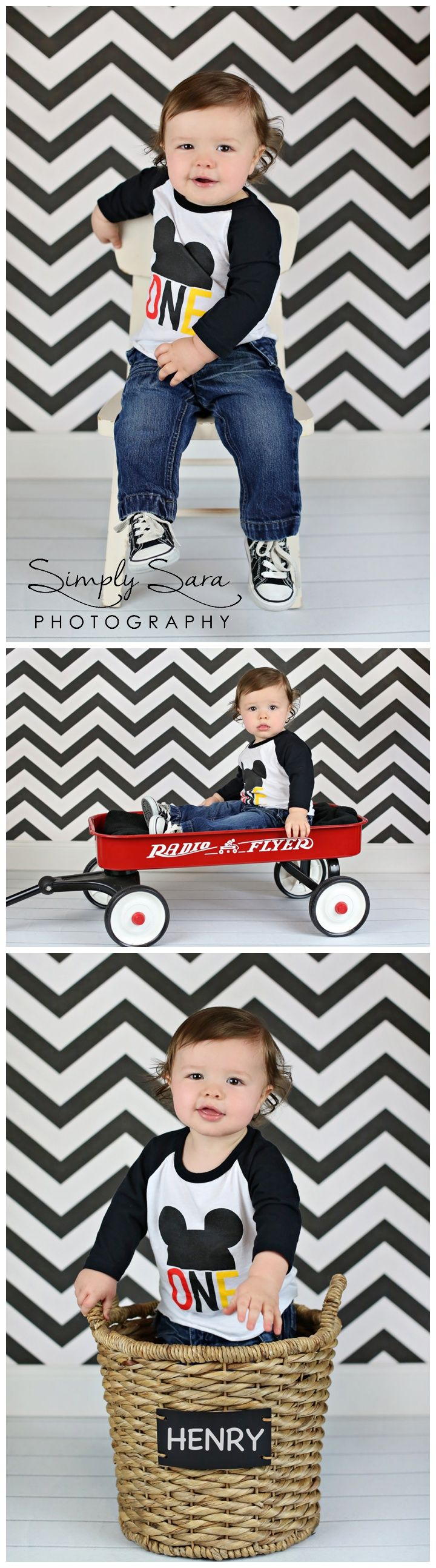 1 Year Old Boy Photo Shoot Ideas & Poses - Indoor Session - Mickey Mouse T-shirt - Red Wagon - Billings, MT Child & Portrait Photographer