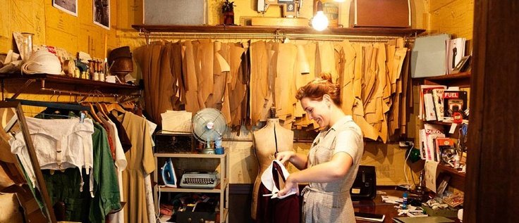 A clothing designer's shop in Melbourne: Karl Slater, Studios Spaces, Karle Slater, Patterns Pieces, Sewing Spaces, Clothing Design, Sewing Rooms, Golden Age, Hanging Patterns