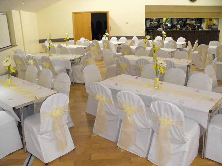 Yellow Organza Bows on White Chair Covers