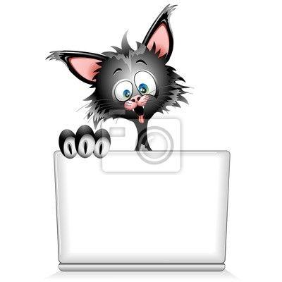 Carta da parati Divertente cartone animato con il computer portatile-Gatto Buffo al PC