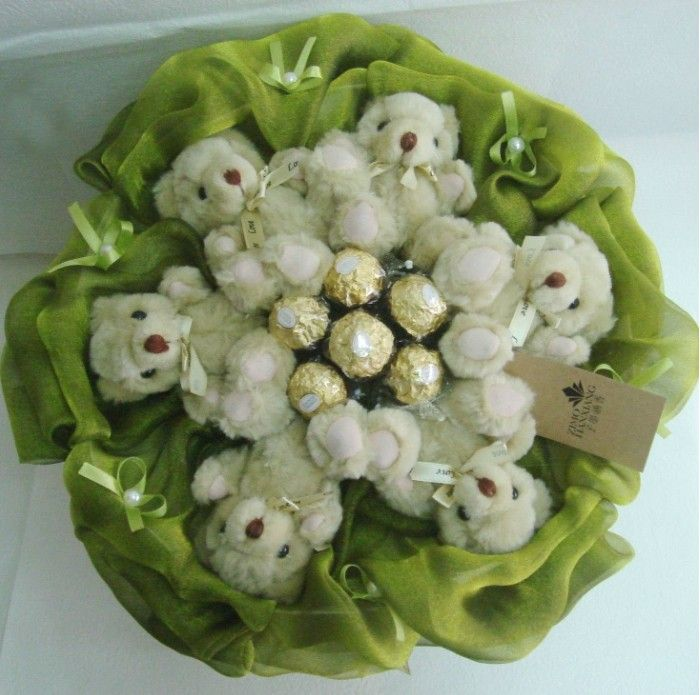 Couples Moved Romantic Gift Bouquets White Teddy Bear Cartoon Dollat EVToys.com