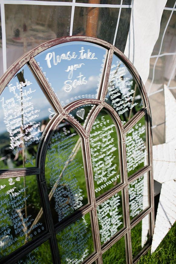 Super gorgeous mirror table plan idea. Visit www.rosetintmywedding.co.uk for bespoke wedding planning and design.