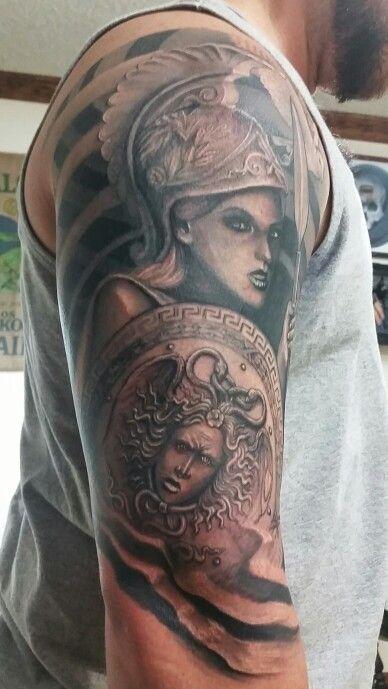 Greek mythology tattoo athena tattoo medusa shield for Greek sculpture tattoo