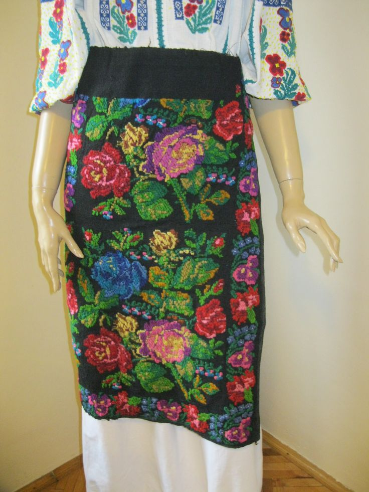 Antique hand embroidered wool Romanian traditional costume's skirt , available at www.greatblouses.com