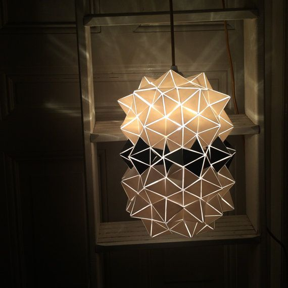 Geodesic Mirrored-Stripe Pendant Lamp by BrittaGould on Etsy