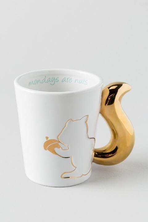 Mondays Are Nuts Gold Squirrel Mug