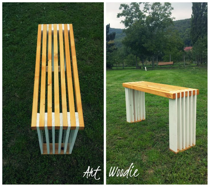 Bench from recycled wood and pallets.