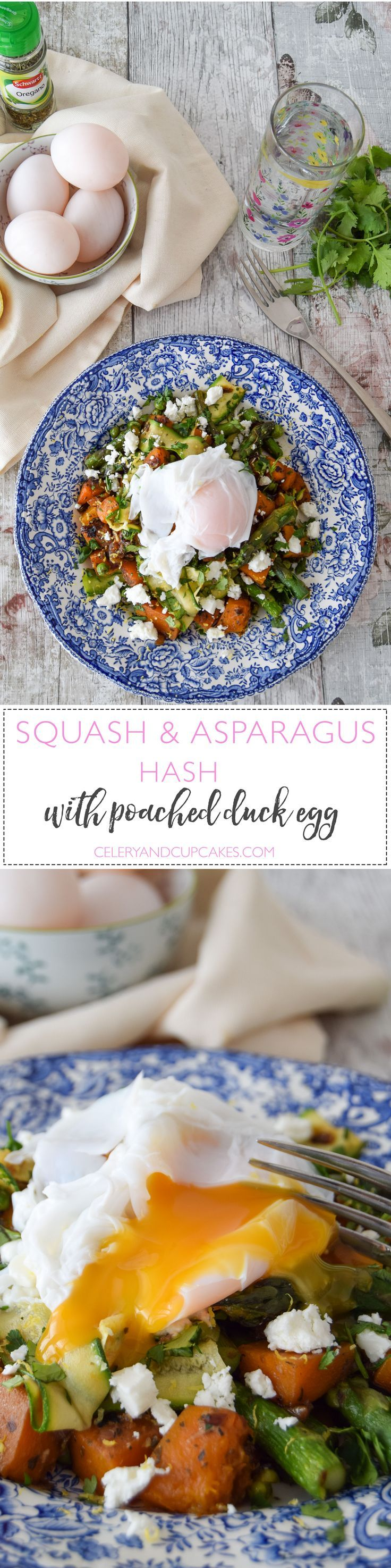 Delicious asparagus paired with butternut squash and courgette ribbons, simply flavoured with dried oregano, garlic and lemon zest makes a delicious bed for a poached duck egg, with its incredibly creamy yolk.