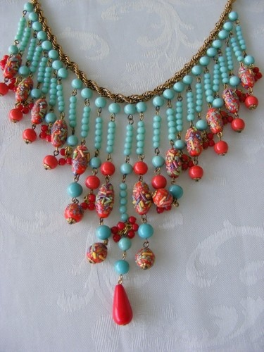 Vintage Miriam Haskell Signed Dripping Bib Egyptian Necklace | eBay
