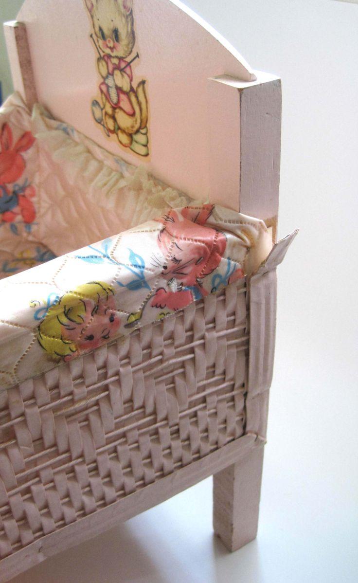 Baby doll crib mattress - Vintage Wicker Doll Crib Bassinet Pink Baby Doll Bed Doll Furniture