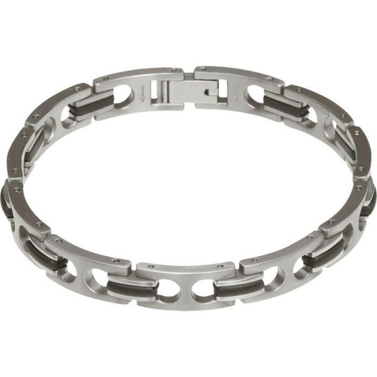 Titanium and Black PU Link Bracelet for Men #bracelet #forhim #gifts #titanium