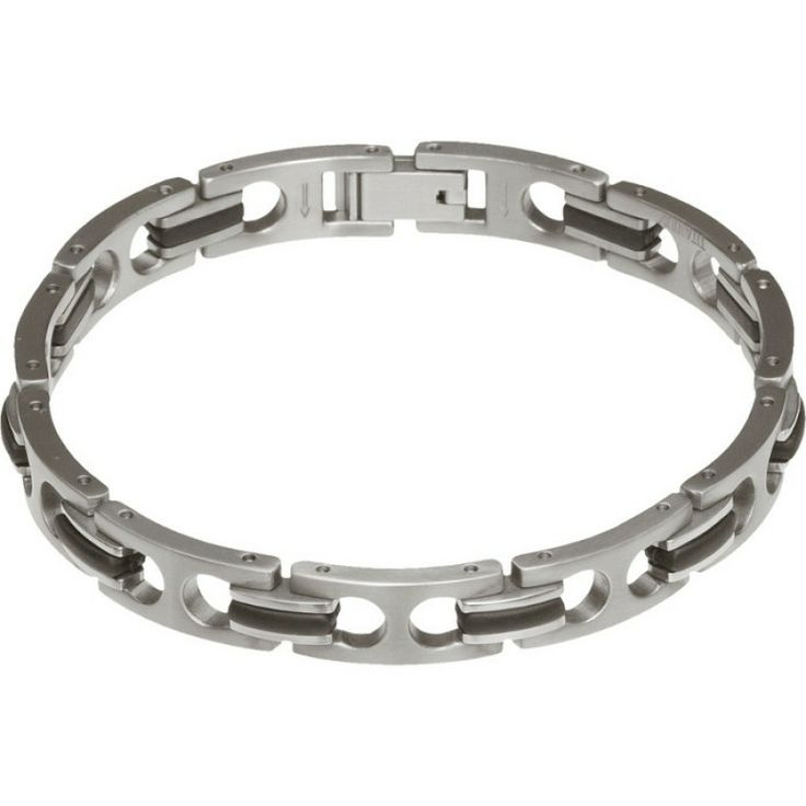 Titanium and Black PU Link Bracelet for Men #bracelet #forhim #gifts #titanium